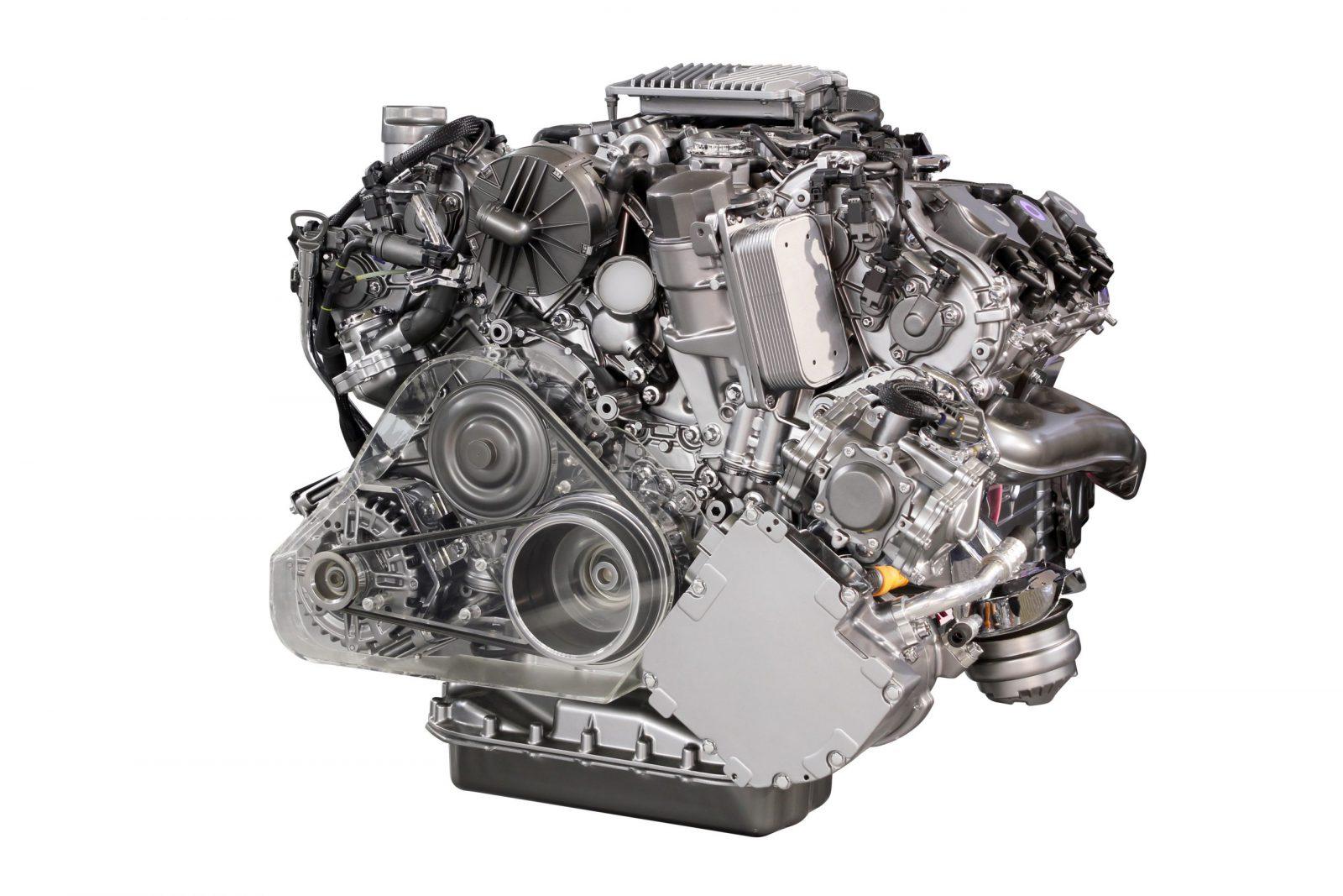 powerful car engine isolated on white